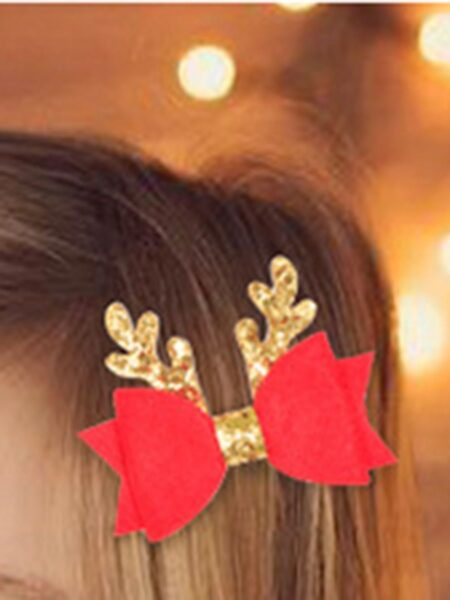4 Pieces Kid Girl Christmas Sequins Bow Hair Clip Wholesale 2