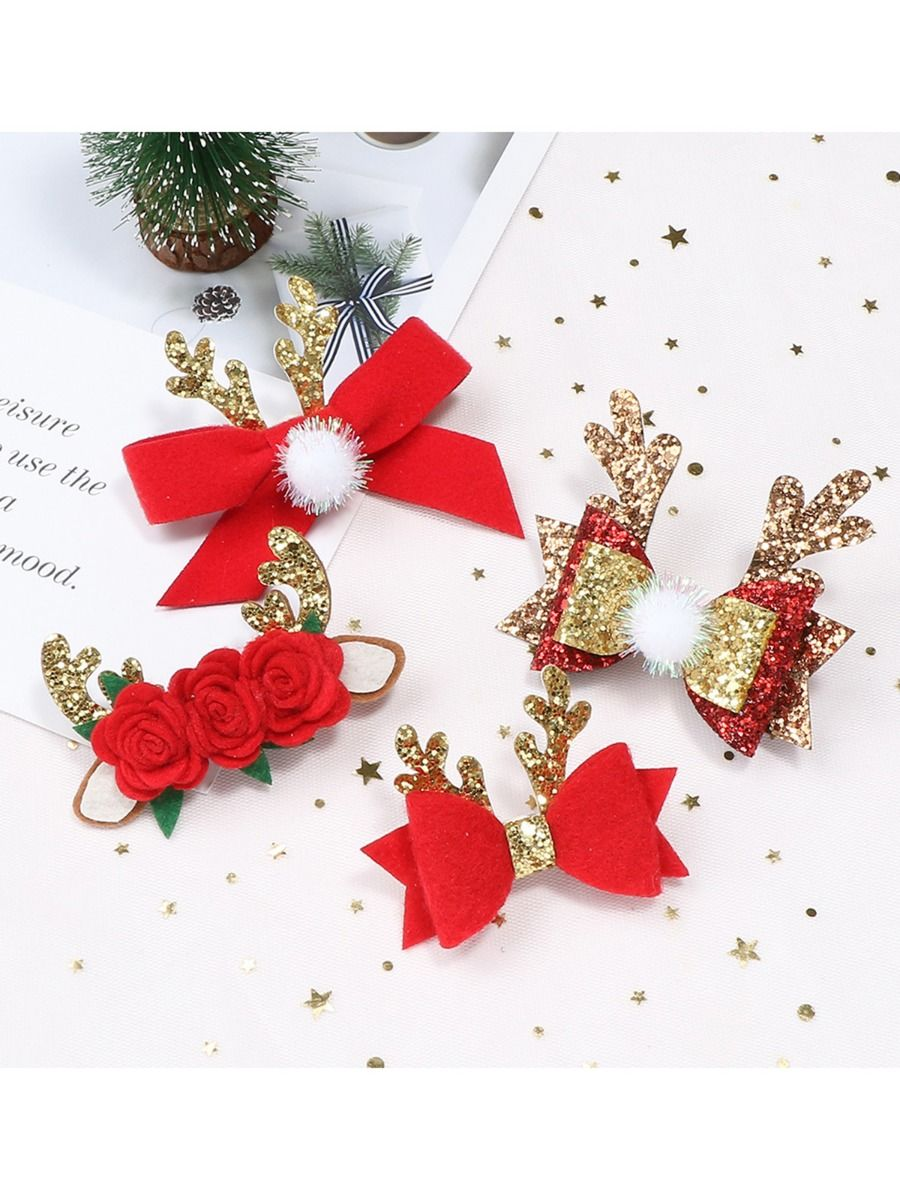 4 Pieces Kid Girl Christmas Sequins Bow Hair Clip Wholesale