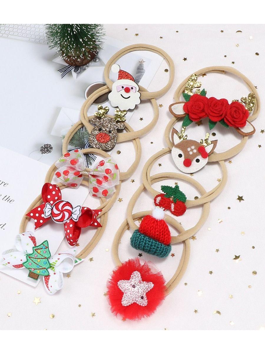 1 Pack Baby Christmas Santa Bow Headbands Wholesale