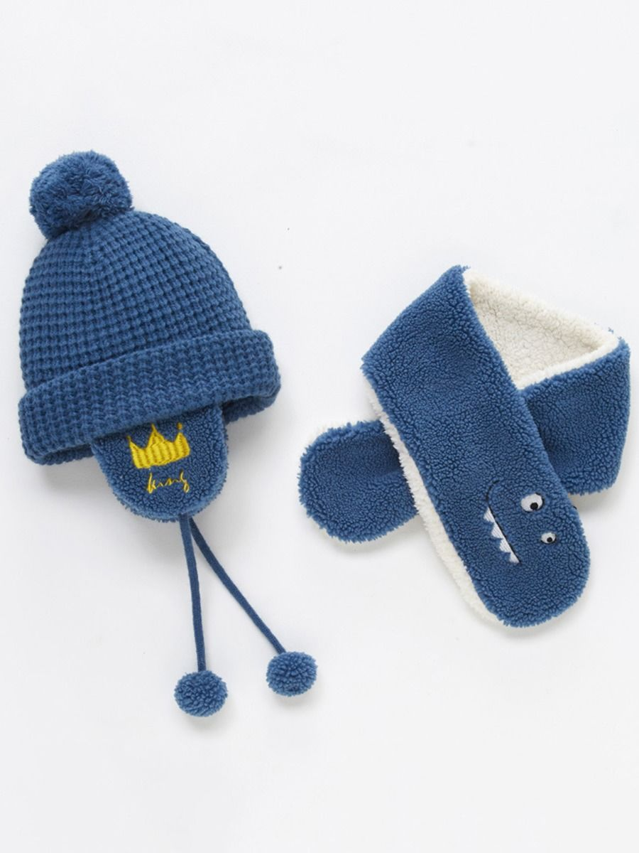 1 Pack Kid Pom Pom Knit Beanie With Scarf Wholesale Hats ACCESSORIES Unisex