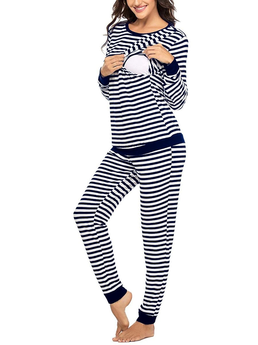 2 Pieces Maternity Stripe Loungwear Set Nursing Top And Trousers Wholesale MOMMY & ME 2021-08-24