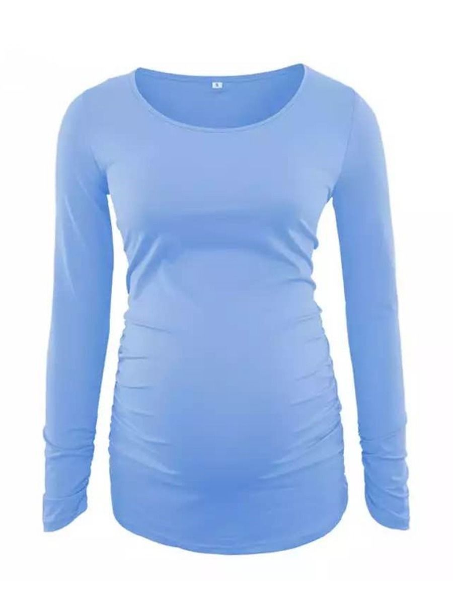 Maternity Solid Color Autumn T-shirt Wholesale MOMMY & ME 2021-08-24