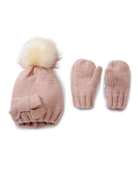 2 Pieces Baby Pom Pom Knit Beanie With Scarf Set Wholesale Hats ACCESSORIES Unisex