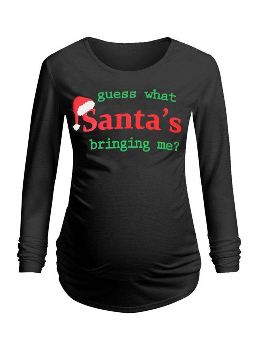 Guess What Santa's Bringing Me Maternity Christmas T-shirt Wholesale MOMMY & ME 2021-08-24