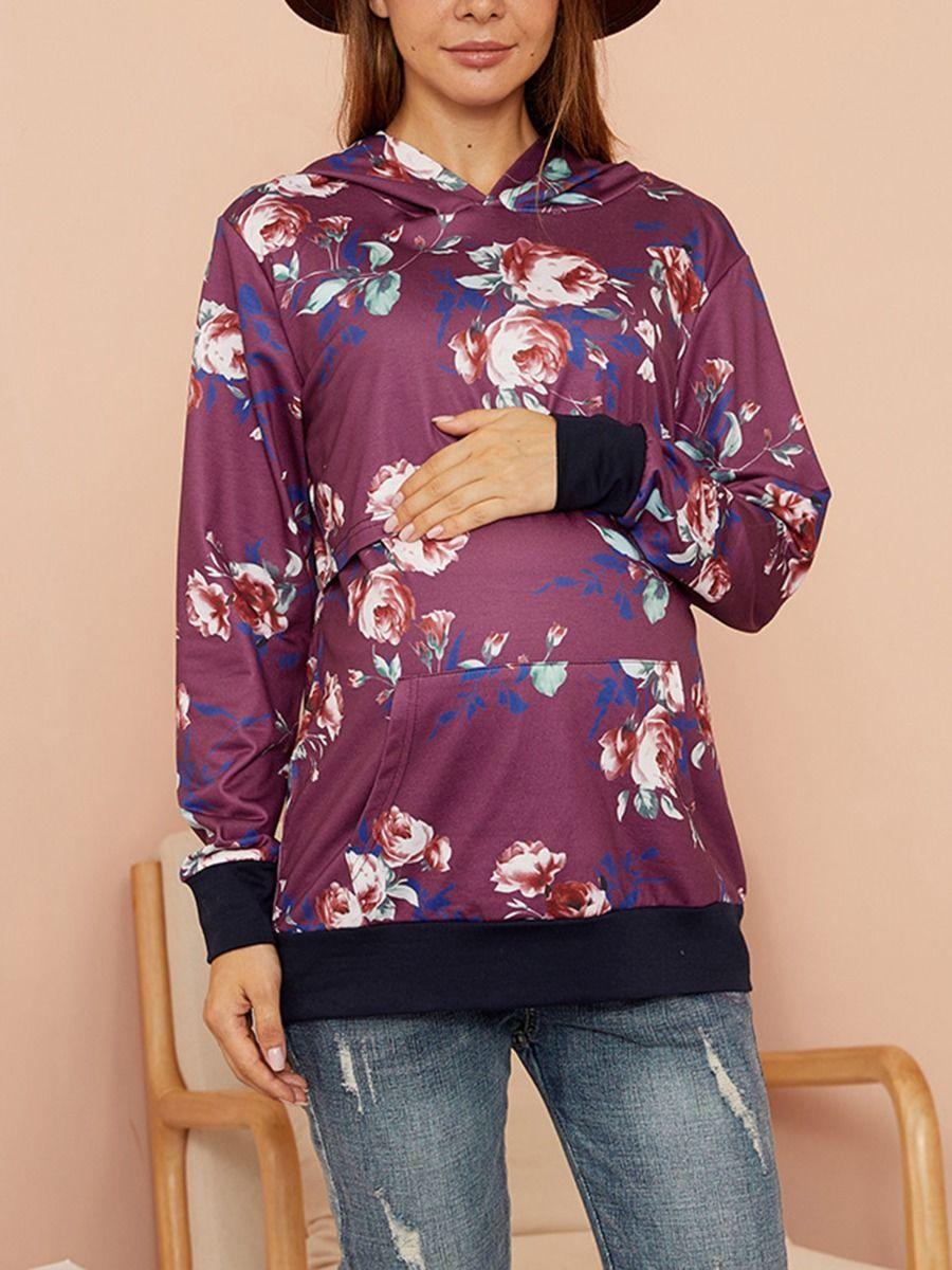 Maternity Nursing Floral Hoodie Wholesale Women