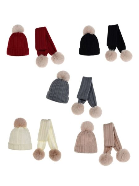 Baby Pom Pom Set Hat And Scarf Wholesale Hats ACCESSORIES Unisex