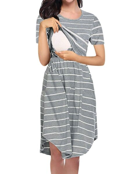 Maternity Nursing Stripe Short Sleeve Dress Wholesale Women Dresses 2021-08-23