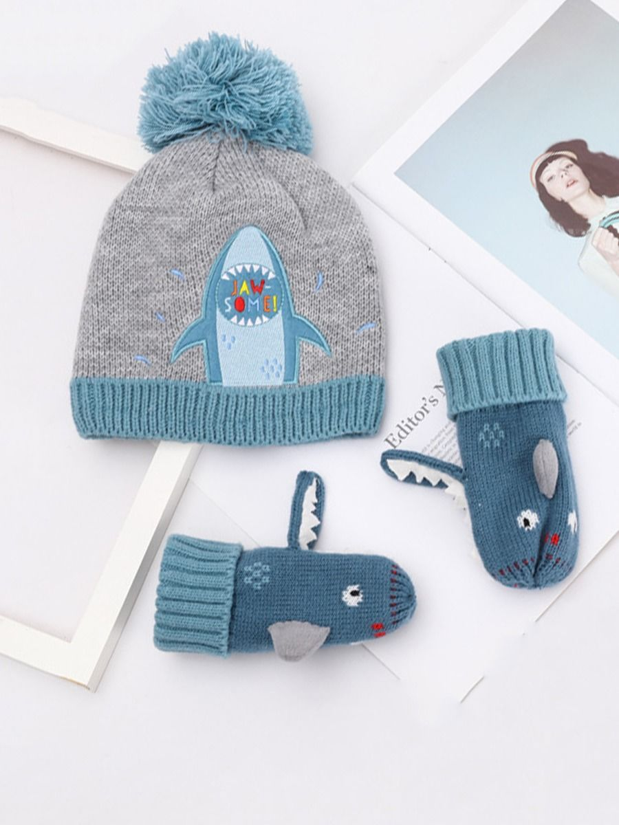 1 Pack Kid Boy Sharp Beanie And Gloves Set Wholesale Hats ACCESSORIES Boys