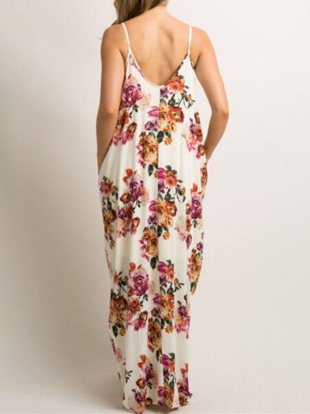 Floral Pattern Maternity Sling Maxi Dress Wholesale 2