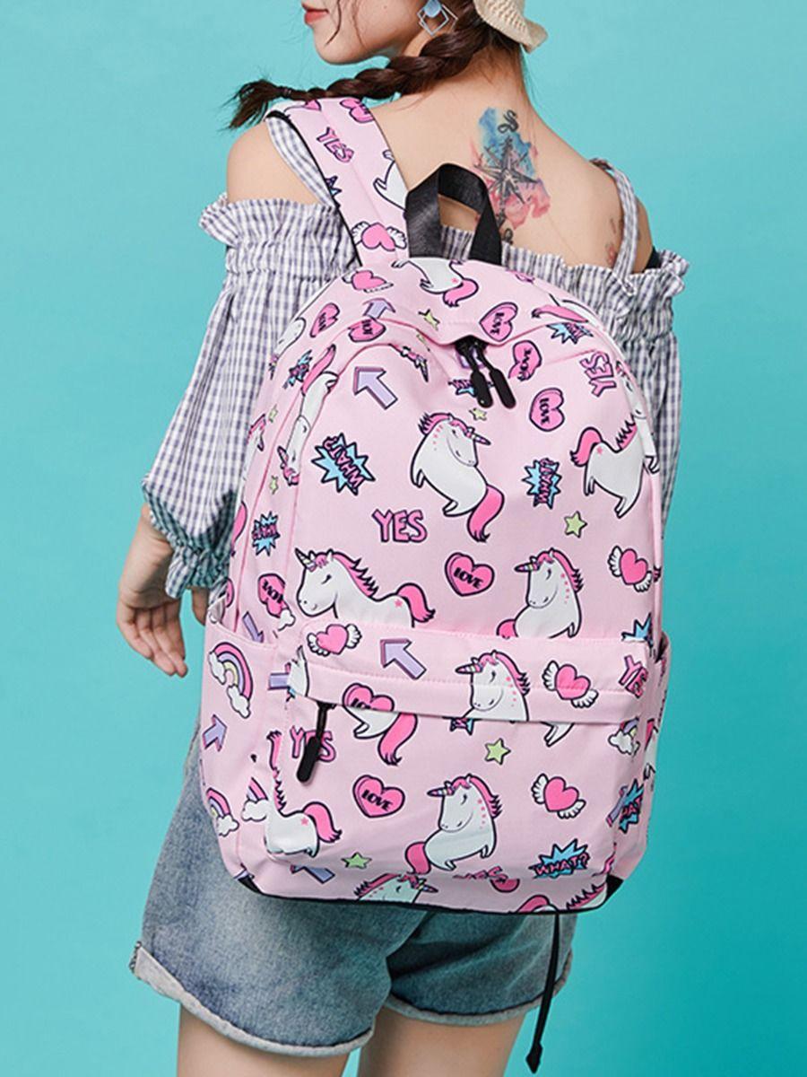Kid Girl Unicorn Print Backpack Wholesale