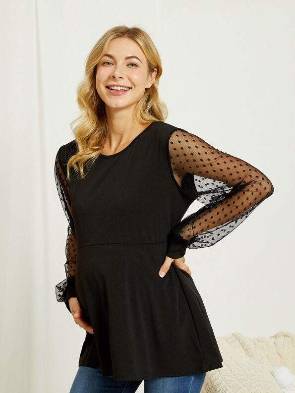 Maternity Polka Dots Mesh Tunic Top Wholesale 5