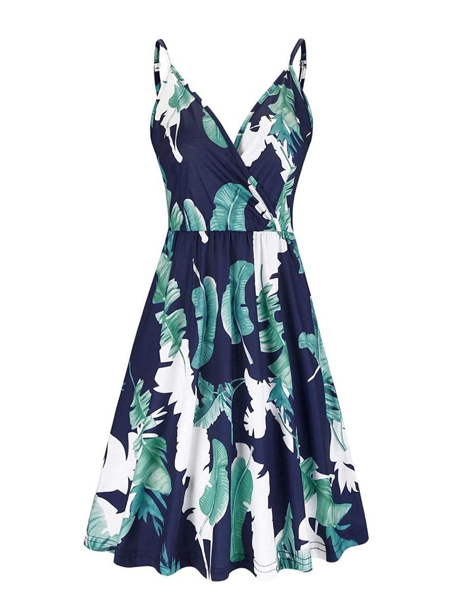 Maternity Tropical Print V-neck Ruffle Hem Cami Dress Wholesale
