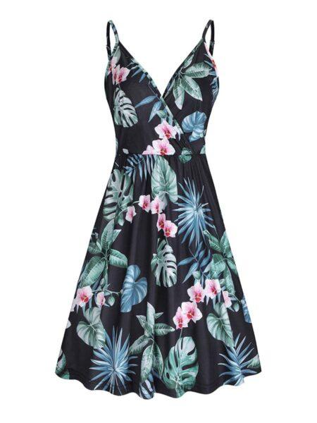 Maternity Tropical Print V-neck Ruffle Hem Cami Dress Wholesale 2