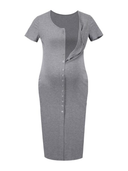 Short-Sleeve Bodycon Button Front Maternity Dress Wholesale MOMMY & ME 2021-08-20