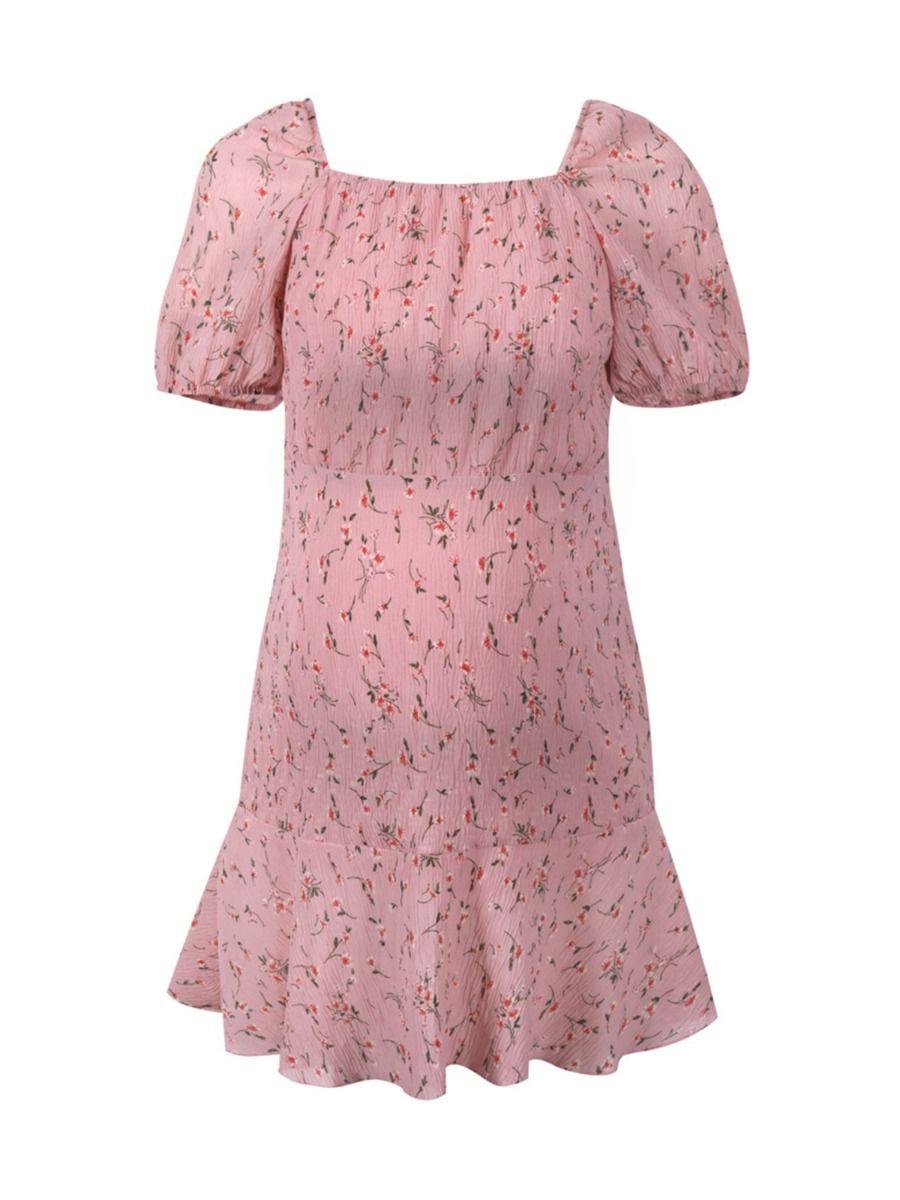 Maternity Dress Floral Printed Puff Sleeve Ruffle Hem