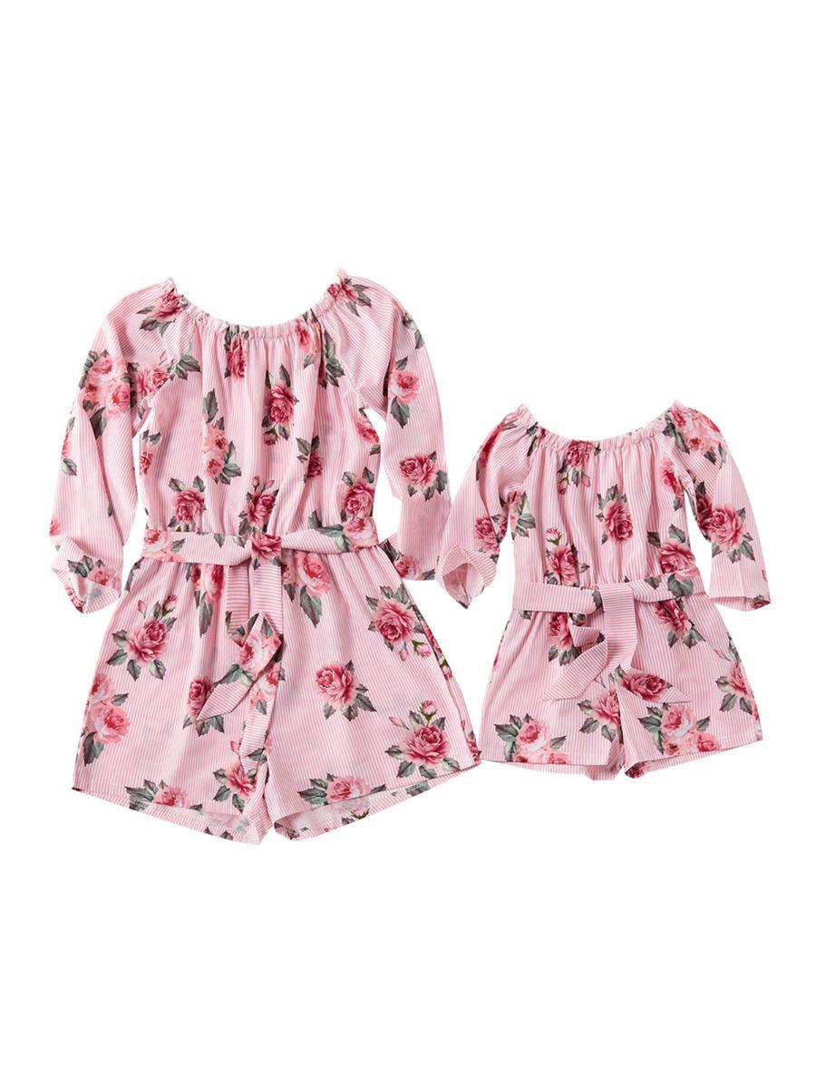Mommy and Me Floral Print Off Shoulder Romper Dresses 2021-08-31
