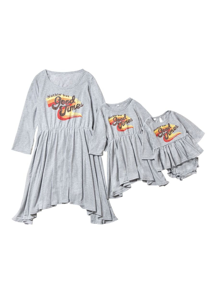 Family Matching NUTHIN'BUT GOOD TIMES Rainbow Printed Dress Set 2