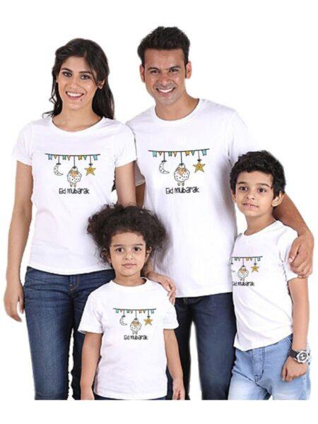 Family Matching Eid Mubarak T-Shirt T-Shirt White MOMMY & ME 2021-08-28