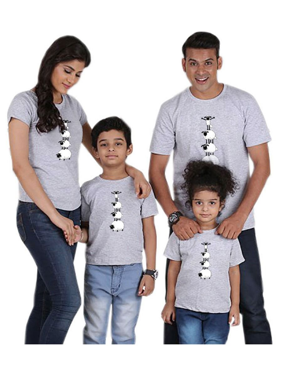 Family Matching Sheep Print T-Shirt Gray FAMILY MATCHING 2021-08-28