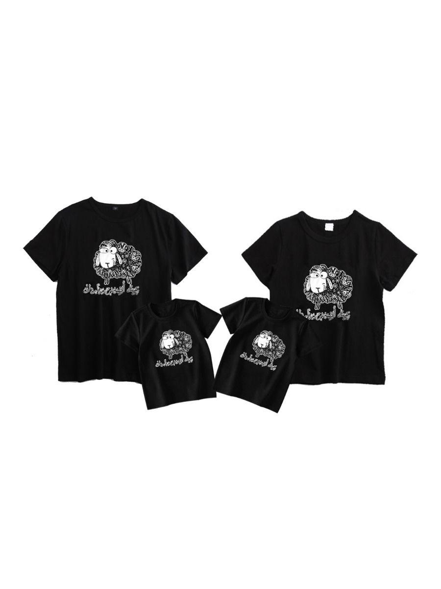Family Matching Sheep Print T-Shirt Black FAMILY MATCHING 2021-08-29