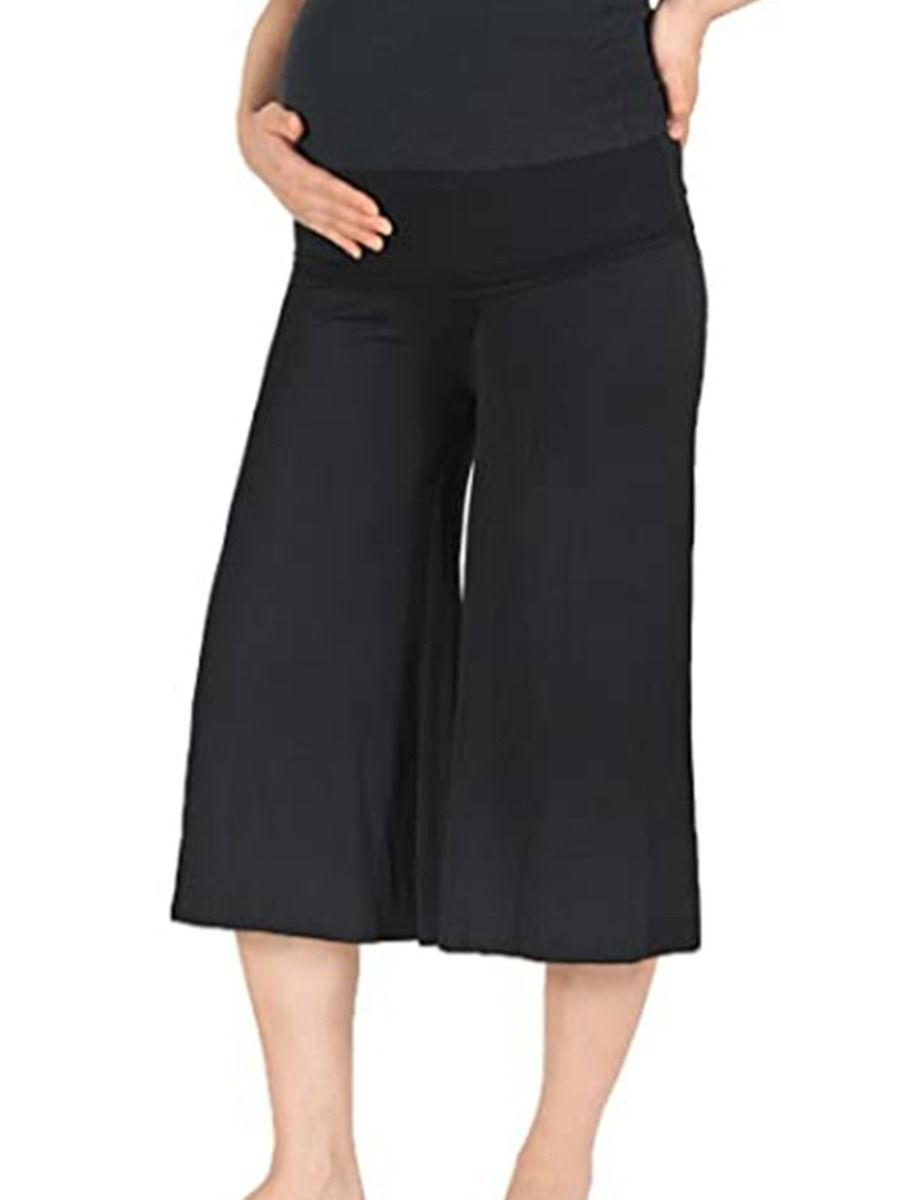 Maternity Solid Color Cropped Trousers
