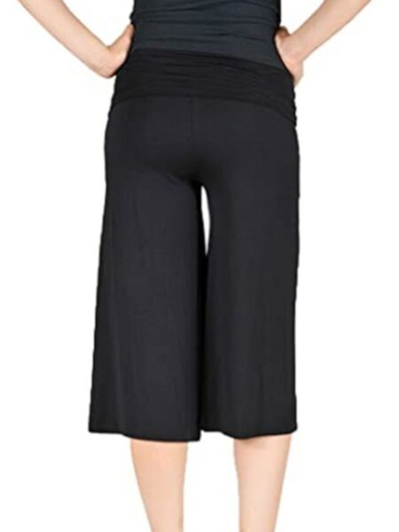 Maternity Solid Color Cropped Trousers 2