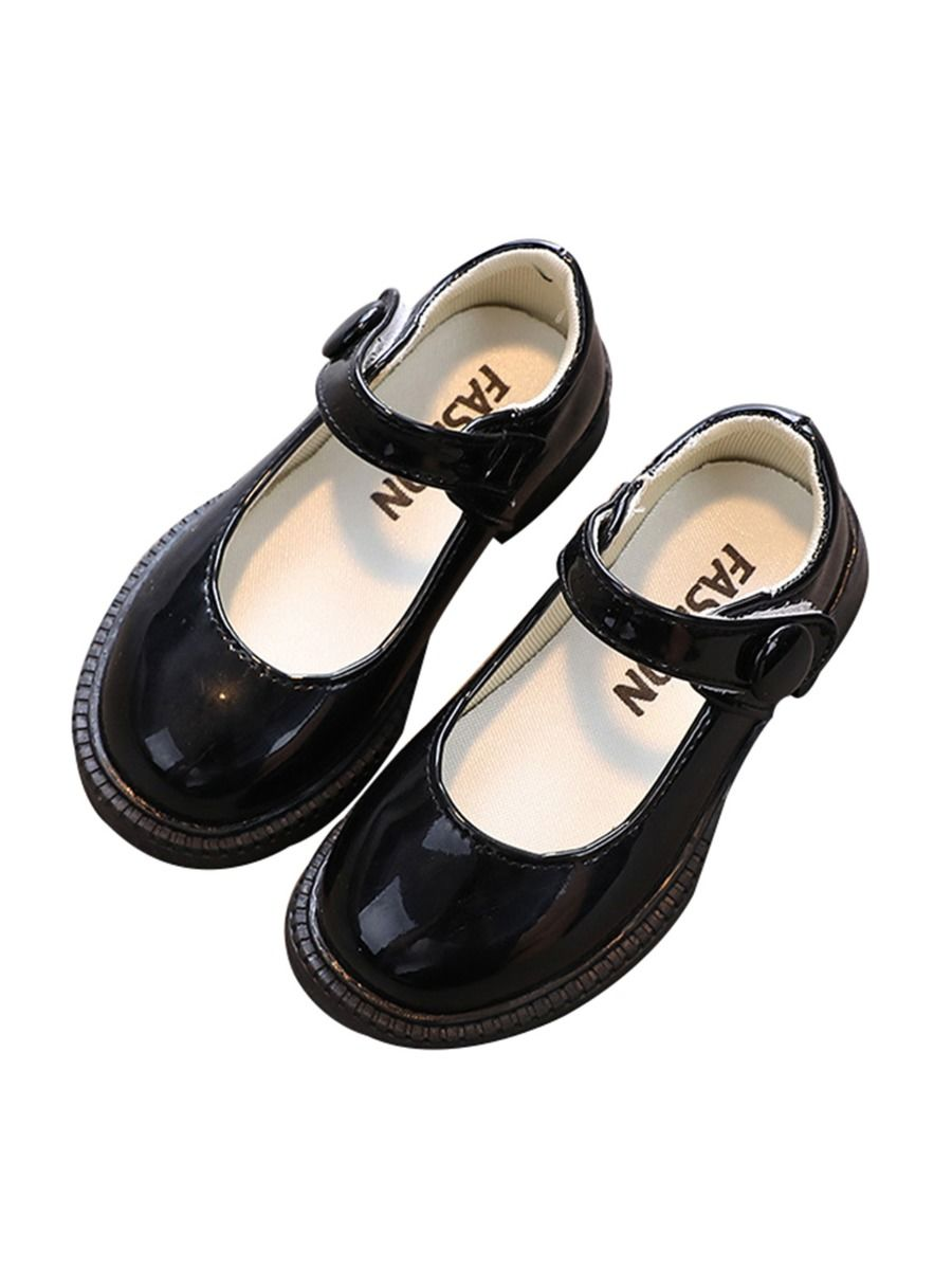 Girls Scalloped Leather Mary Janes Shoes