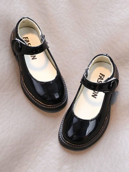Girls Scalloped Leather Mary Janes Shoes 2