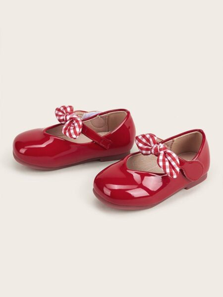 Toddler Kid Girl Party Shoes With Checked Bowknot 2