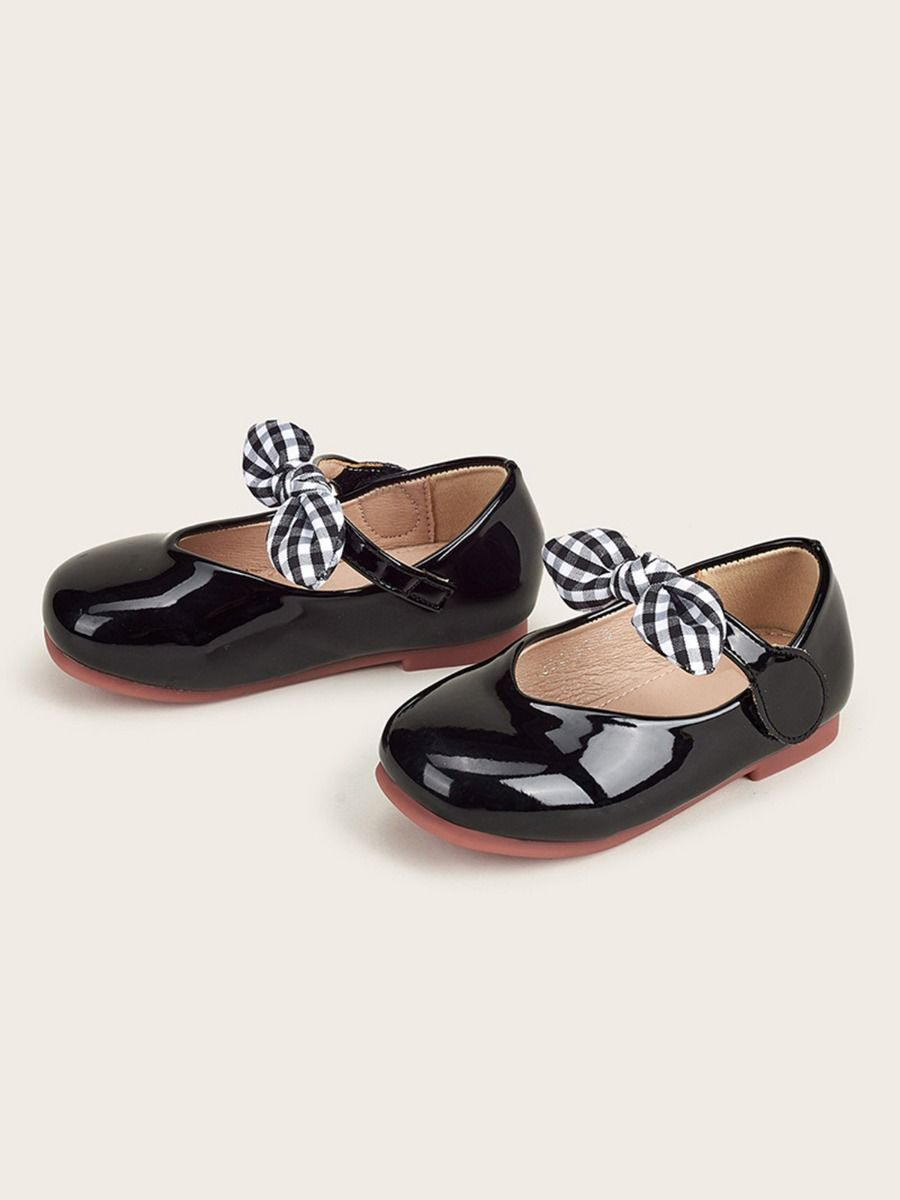 Toddler Kid Girl Party Shoes With Checked Bowknot