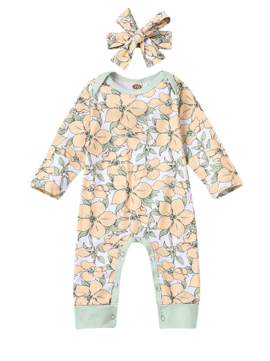 Flower Print Baby Girl Jumpsuit With Headband Wholesale BABIES 2021-08-23
