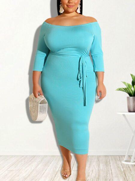Women Plus Size Solid Color Off Shoulder Dress Dresses 2021-08-19
