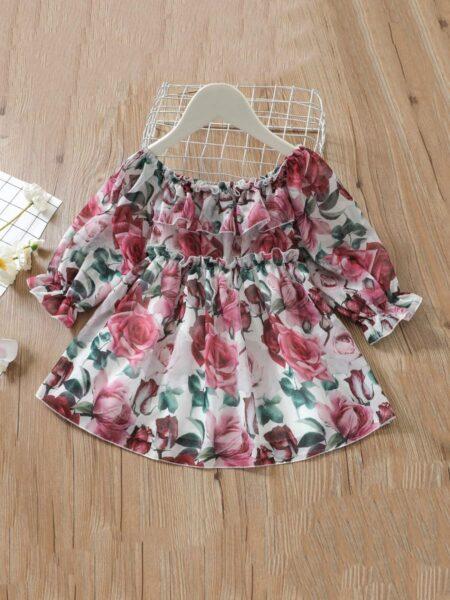 Flower Print Ruffle Trim Off Shoulder Dress For GirlFlower Print Ruffle Trim Off Shoulder Dress DRESSES 2021-08-23