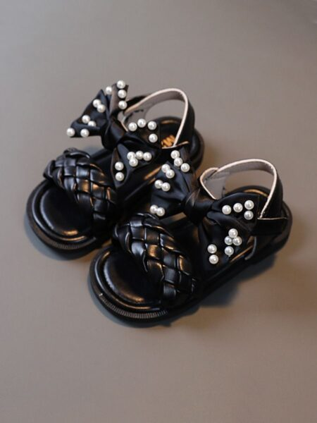 Bow Woven Leather Beaded Decor Toddler Kid Girl Sandals 2