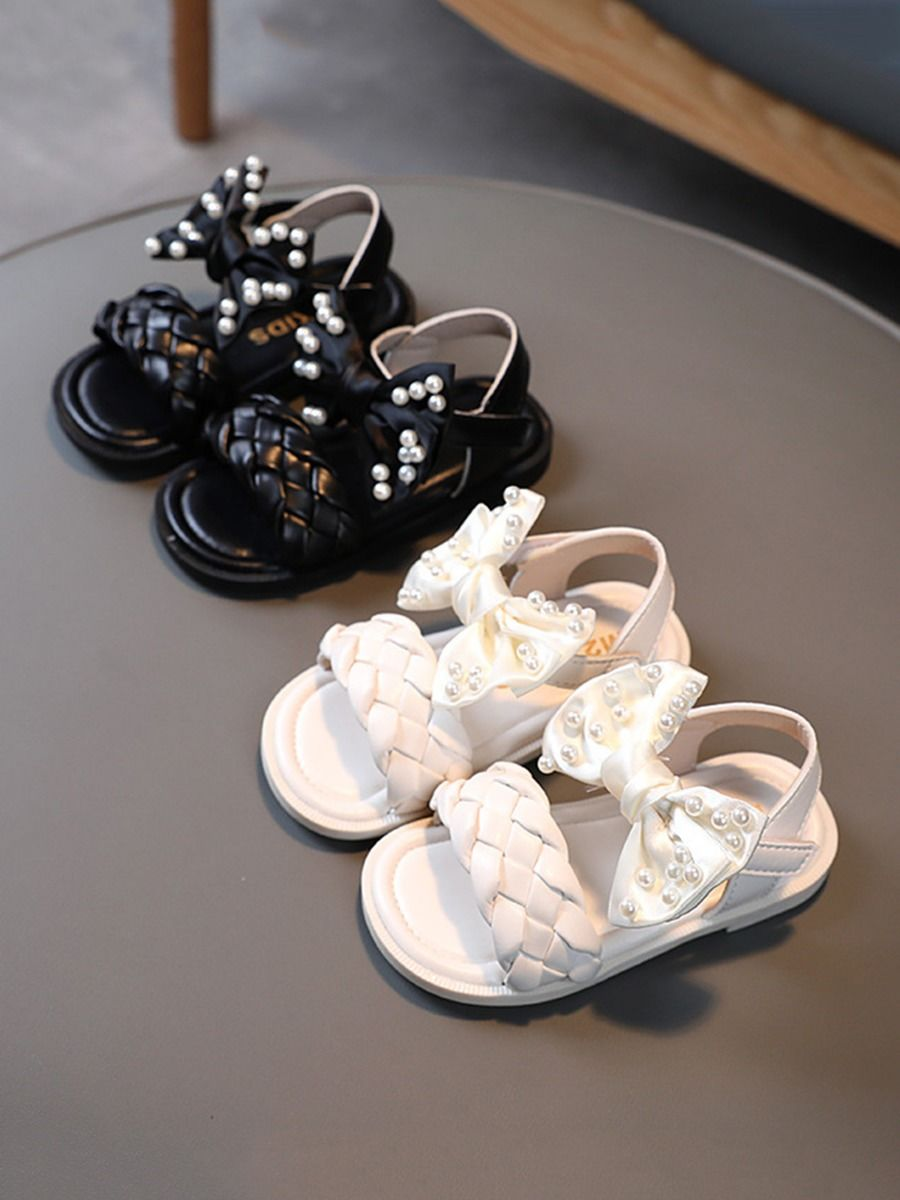 Bow Woven Leather Beaded Decor Toddler Kid Girl Sandals