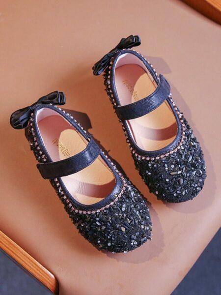 Kid Girl Beaded Bow Decor Shoes 2