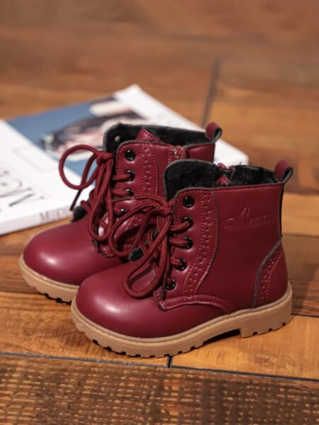 Solid Color Kid PU Boots 2