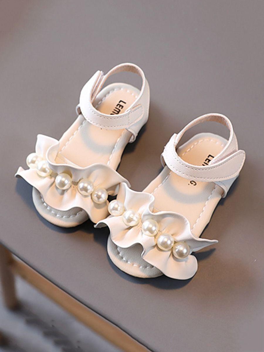 Ruffle Trim Beaded Sandals Girls Shoes