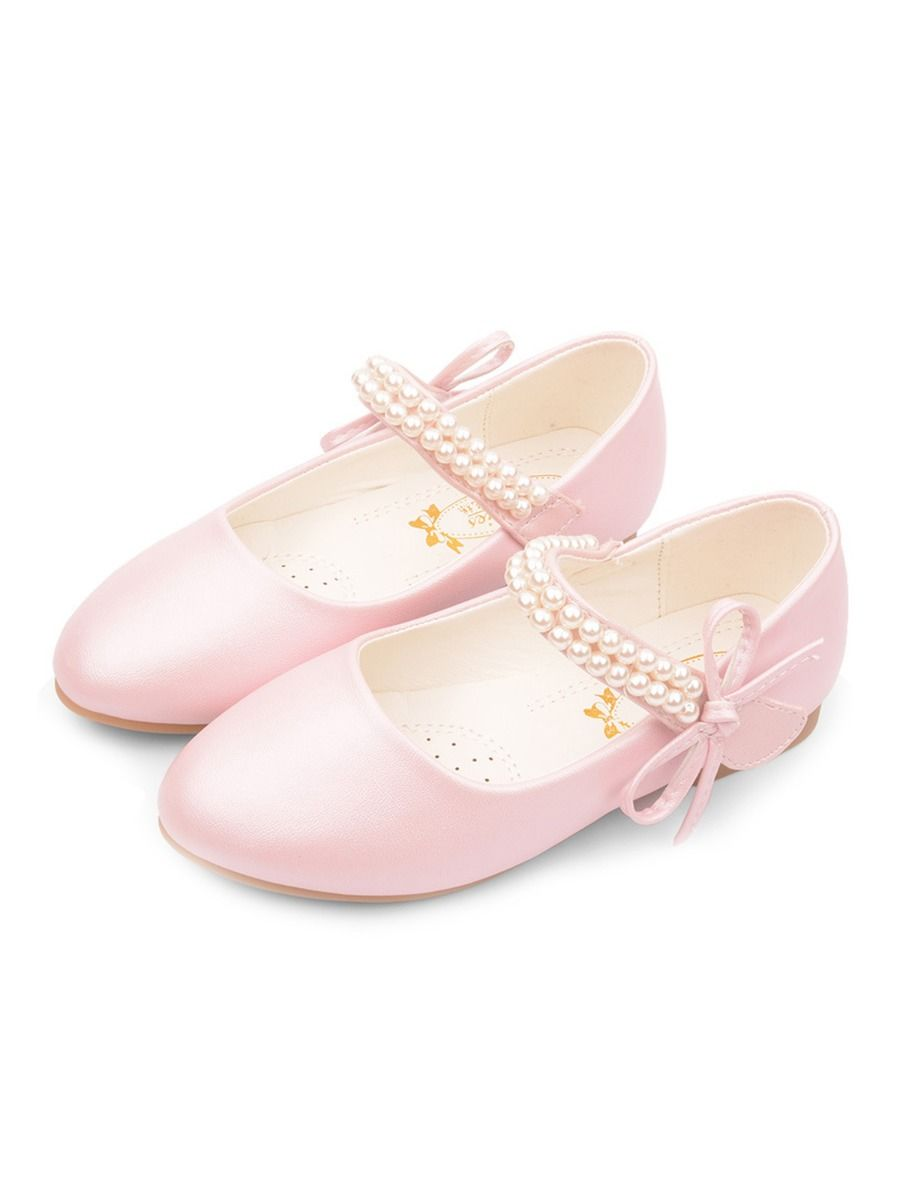 Pearl Decor Kid Girl Shoes With Bowknot