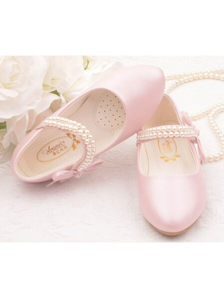 Pearl Decor Kid Girl Shoes With Bowknot 2