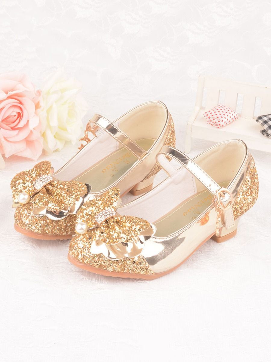 Kid Girl Bow Sequins Shoes
