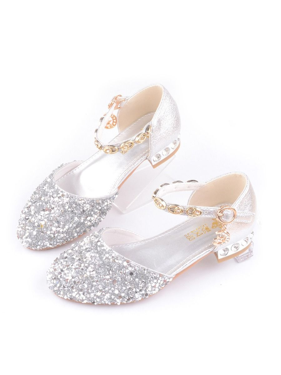 Kid Girl Gold chain Rhinestone Shoes