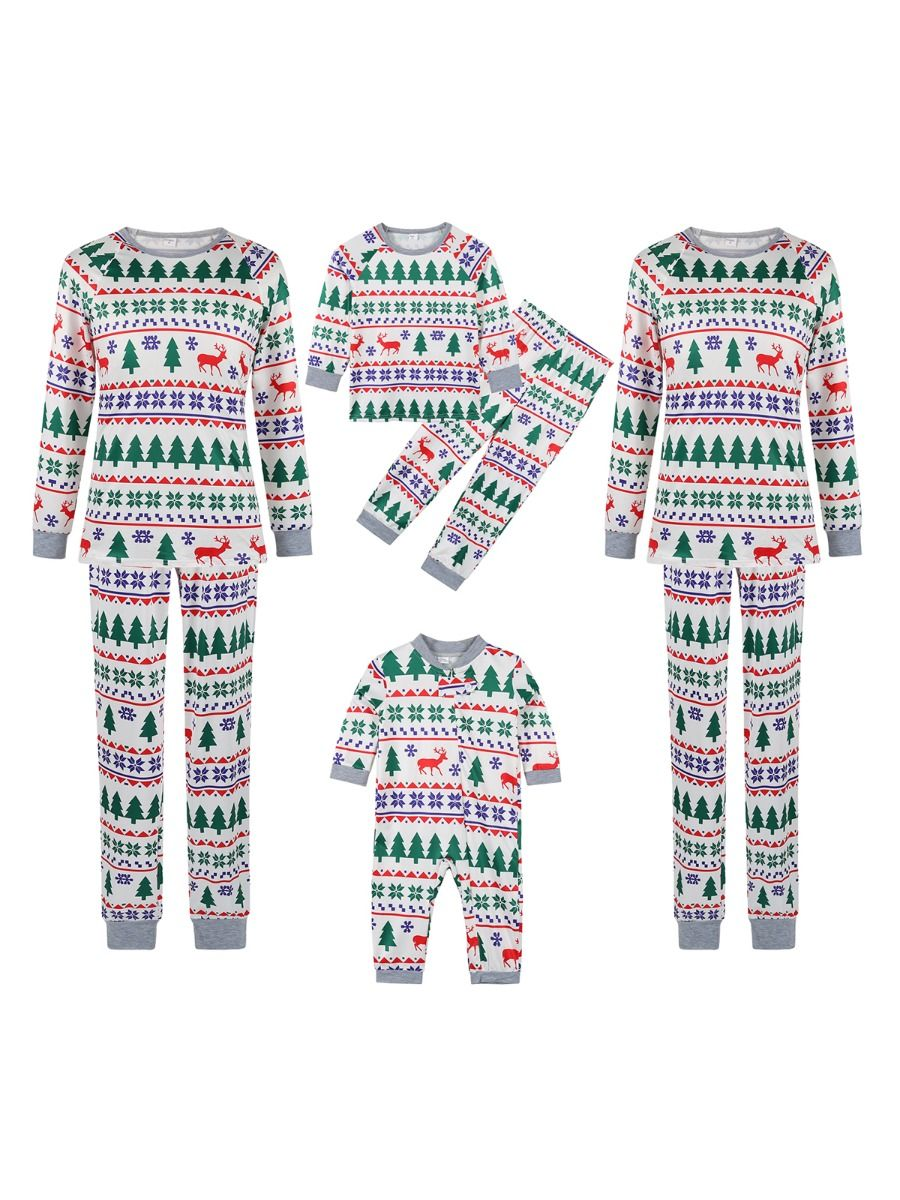 Christmas Tree Print Family Matching Nightwear Sets Jumpsuit Top Trousers