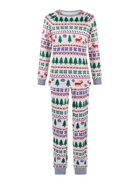 Christmas Tree Print Family Matching Nightwear Sets Jumpsuit Top Trousers 2