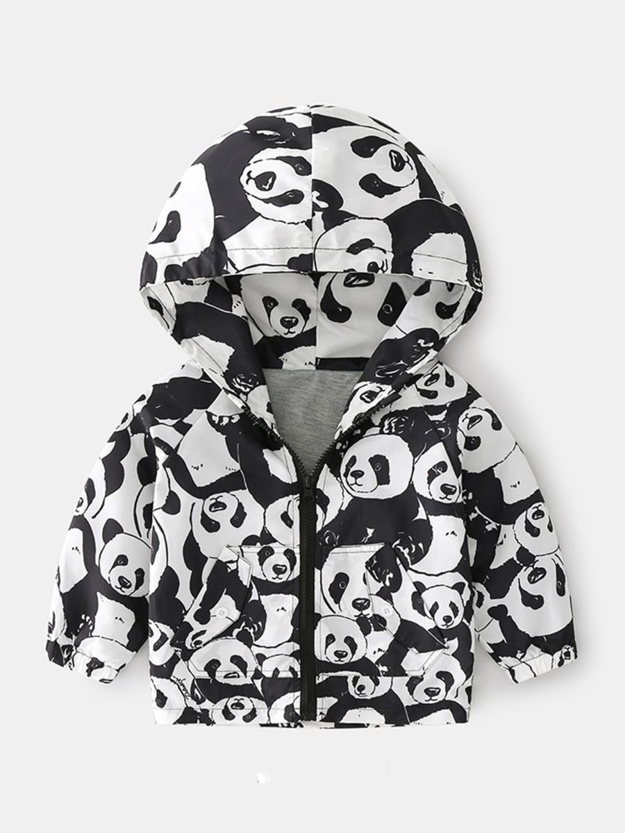 Panda Star Print Zipper Hoodies For Kid Boy  Wholesale
