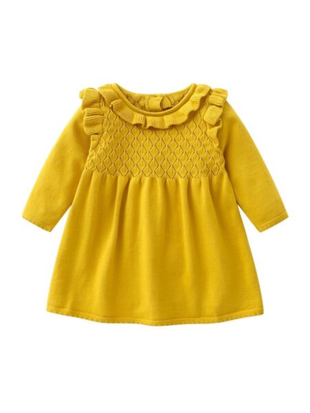 Solid Color Ruffle Trim Baby Girl Knit Dress Wholesale Baby Clothes  Wholesale BABIES 2021-08-27