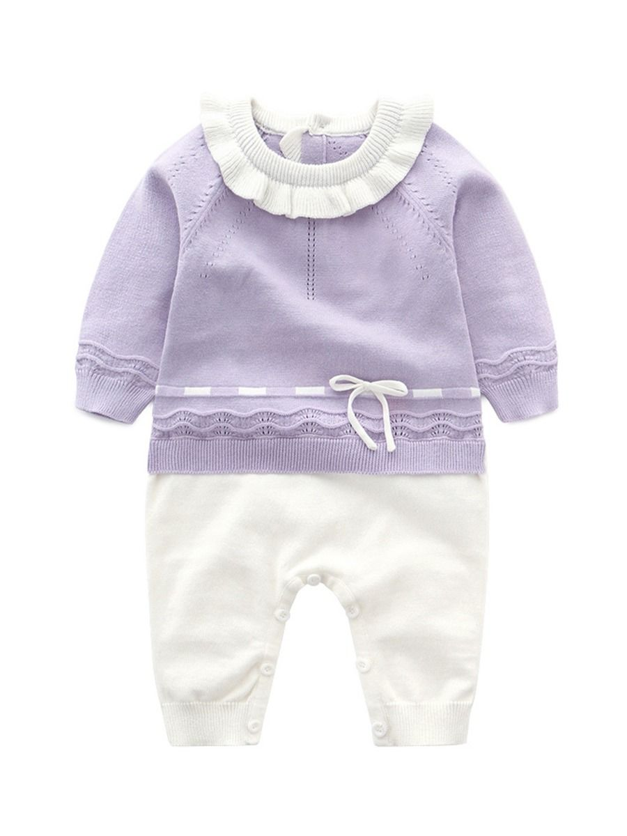 Fake Two-piece Ruffle Decor Baby Girl Jumpsuit  Wholesale BABIES 2021-08-27