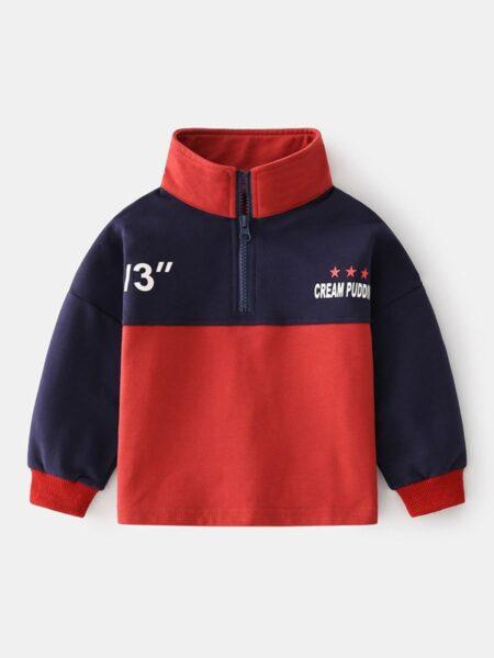 Color Blocking Letter Print Half Zip Pullover For Kid Boy Wholesale BOYS 2021-08-27