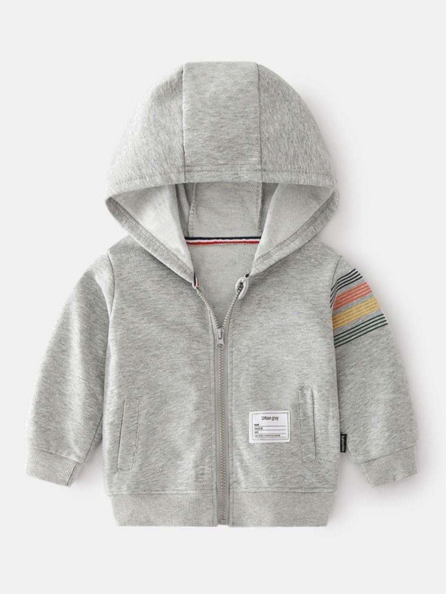 Kid Boy Striped Print Zip Up Hoodies  Wholesale BOYS 2021-08-27
