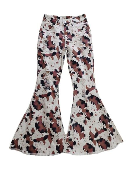 Cow Print Mommy And Me Bell Bottom  Wholesale 2